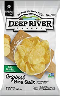 product image for Deep River Snacks 50% Reduced Fat Kettle Cooked Potato Chips, 5-Ounce (Pack of 12)