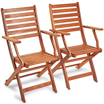vonhaus set of 2 wooden folding armchairs 2 pack of hardwood