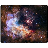 MSD Mouse Pad Unique Custom Printed Mousepad Universe Galaxy Nebula Star Space Stitched Edge Non-Slip Rubber 9.8x7.9-Inch