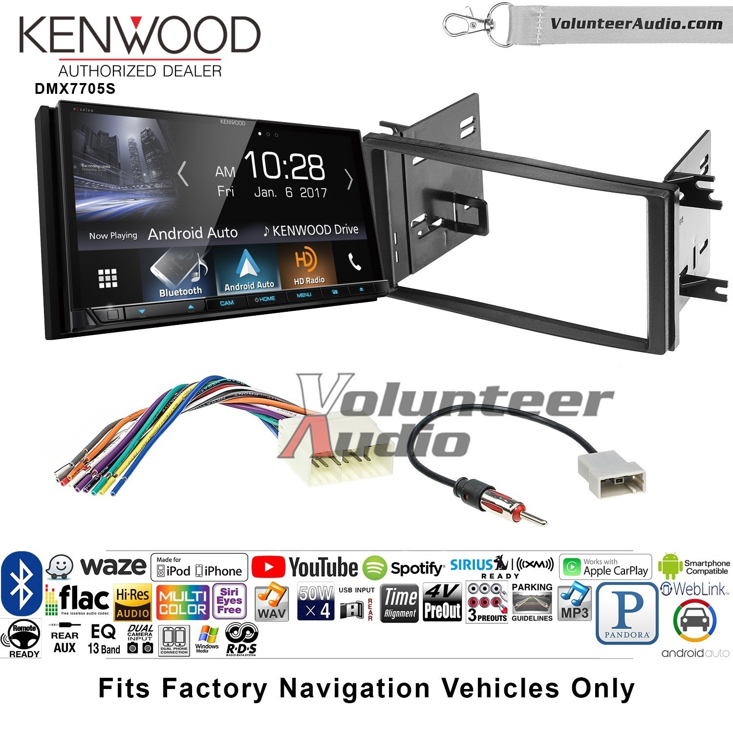 Volunteer Audio Kenwood DMX7705S Double Din Radio Install Kit with Apple CarPlay Android Auto Bluetooth Fits 2009-2013 Subaru Forester, 2008-2011 Subaru Impreza