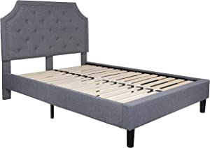 Flash Furniture Brighton Full Size Tufted Upholstered Platform Bed in Light Gray Fabric