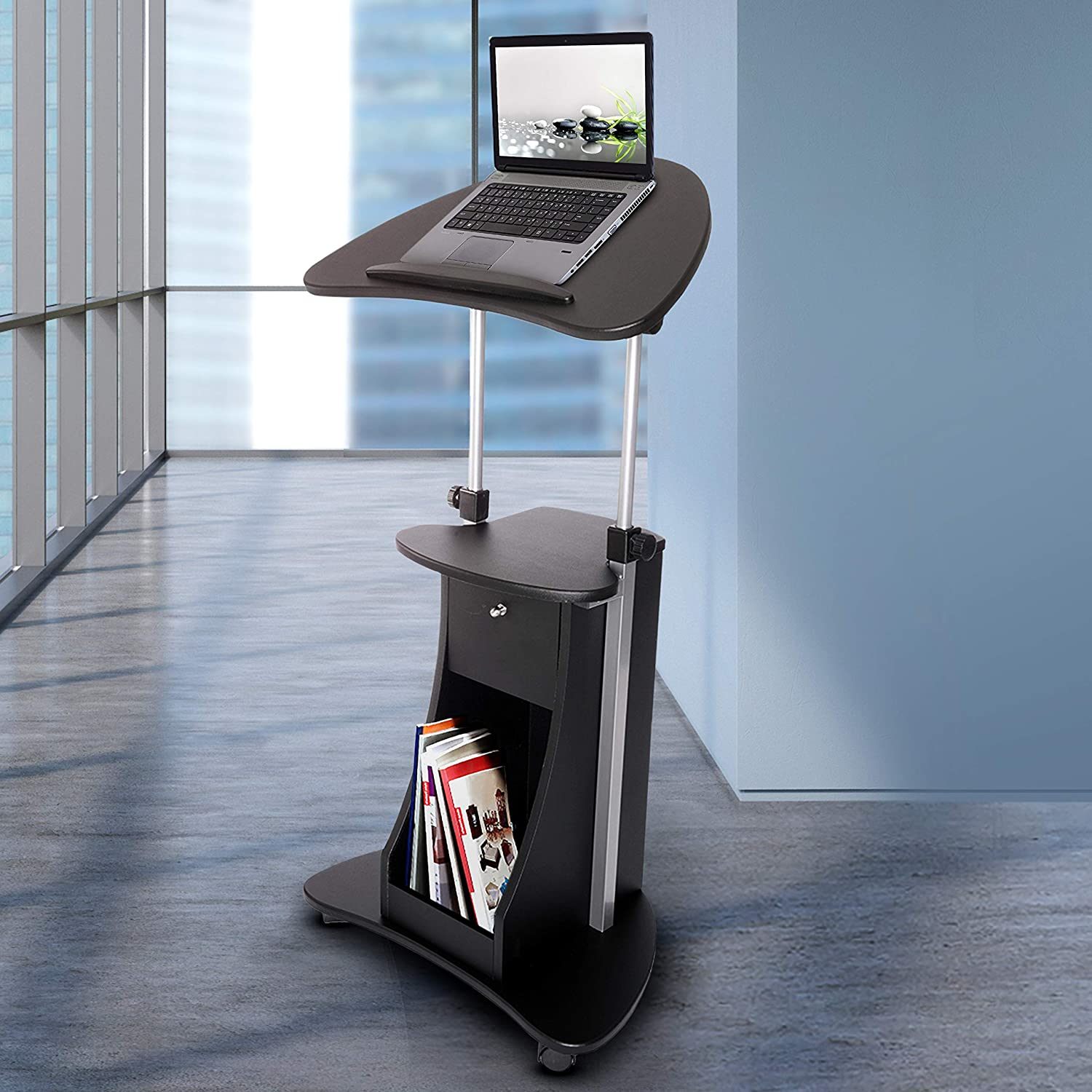 Techni Mobili Sit-to-Stand Mobile Medical Laptop Computer Cart