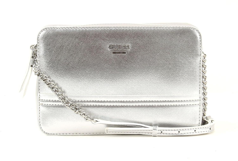 68880eb6371f GUESS Devyn Crossbody Top Zip Silver  Amazon.co.uk  Shoes   Bags