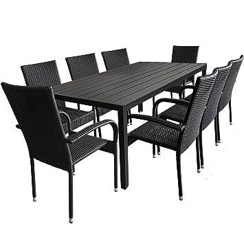 Salon de jardin table de jardin 205 x 90 cm en aluminium et ...