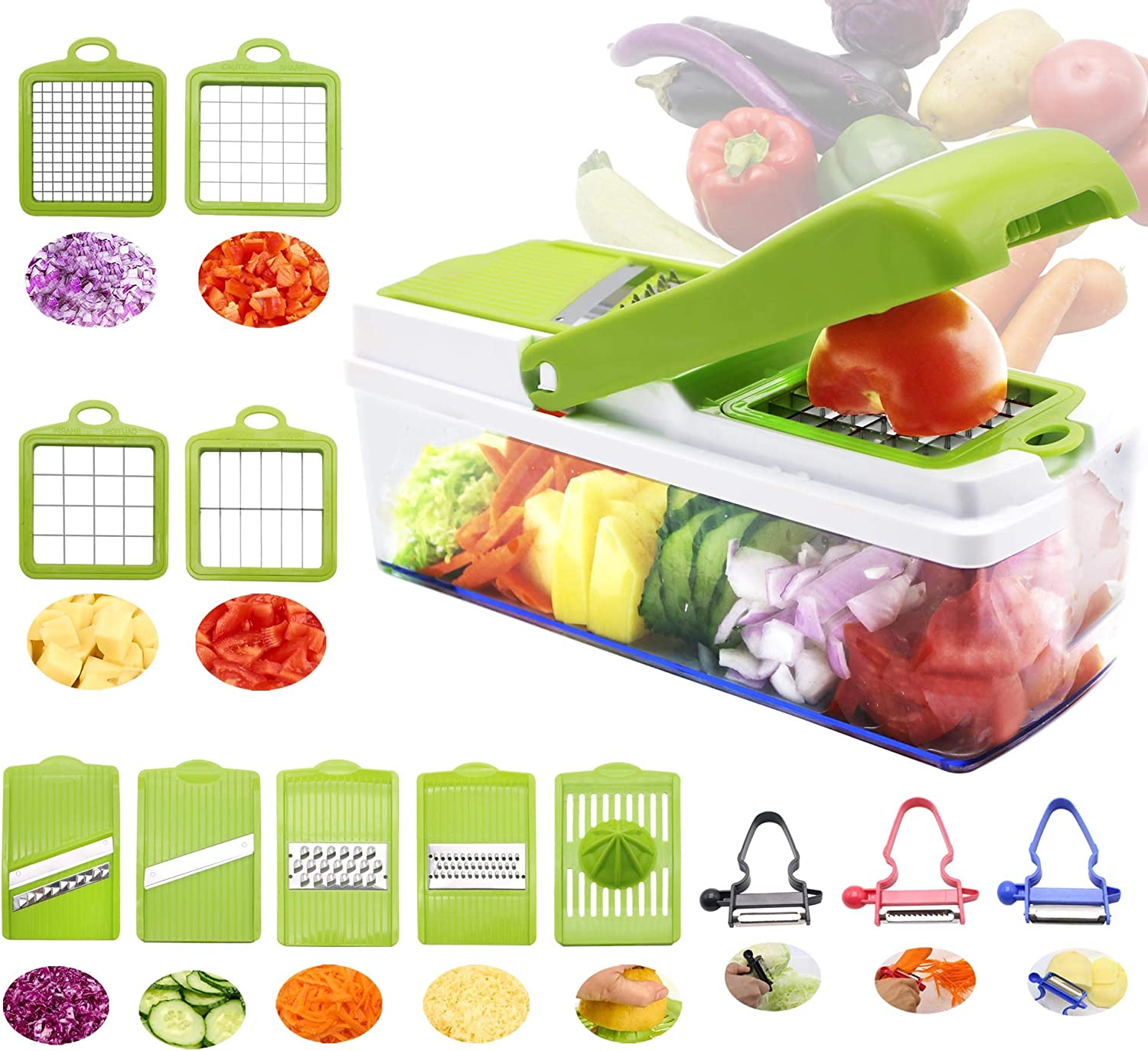 Vegetable Chopper And Mandoline Slicer Dicer Peeler, RTMAXCO Food Chopper Onion Chopper Julienne,All in 1 Multifunctional Mandolin, Fruits Veggie, Kitchen Gadget.