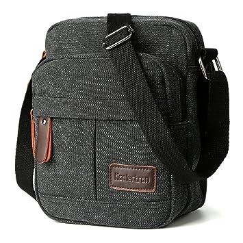 febc01681 Koolertron Men Shoulder Bag Small Retro Canvas Satchel Zipped Unisex  Lightweight Long Strap Crossbody Travel Messenger