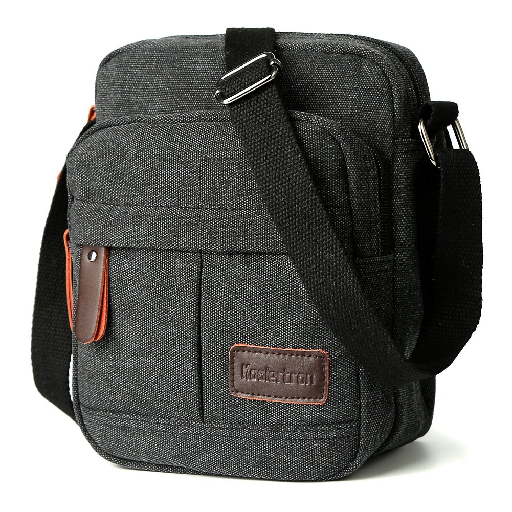 8901580b9c12 Koolertron Men Shoulder Bag Small Retro Canvas Satchel Zipped Unisex  Lightweight Long Strap Crossbody Travel Messenger