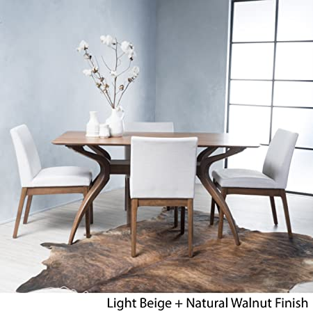 Katherine Light Beige Fabric Natural Walnut Finish Curved Leg Rectangular 5 Piece Mid Century Modern Dining Set