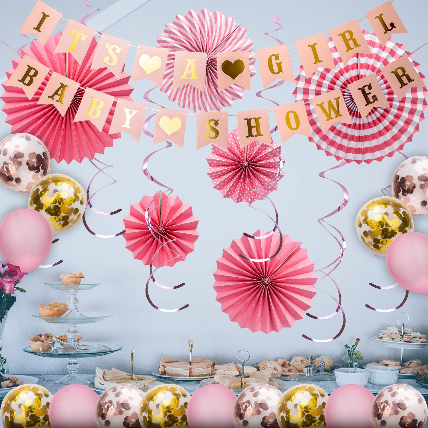 Papierfächer Gold Spirale Ornamente Dekor für Geschenkparty Decor Konfetti-Ballons Latexballons SAVITA Its A Boy Papier Girlande Banner für Jungen Baby Shower Party Dekorations Set