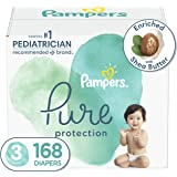 Diapers Size 3, 168 Count - Pampers Pure Protection Disposable Baby Diapers, Hypoallergenic and Unscented Protection, ONE Mon