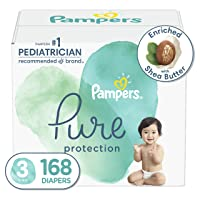 Diapers Size 3, 168 Count - Pampers Pure Protection Disposable Baby Diapers, Hypoallergenic and Unscented Protection, ONE Month Supply