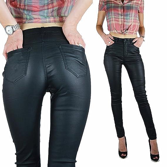 Schwarze Basic Highwaist Jeans Hose Kunstlederhose Lederlook skinny Röhre  XS-XL, Farbe schwarz 343e6e8052
