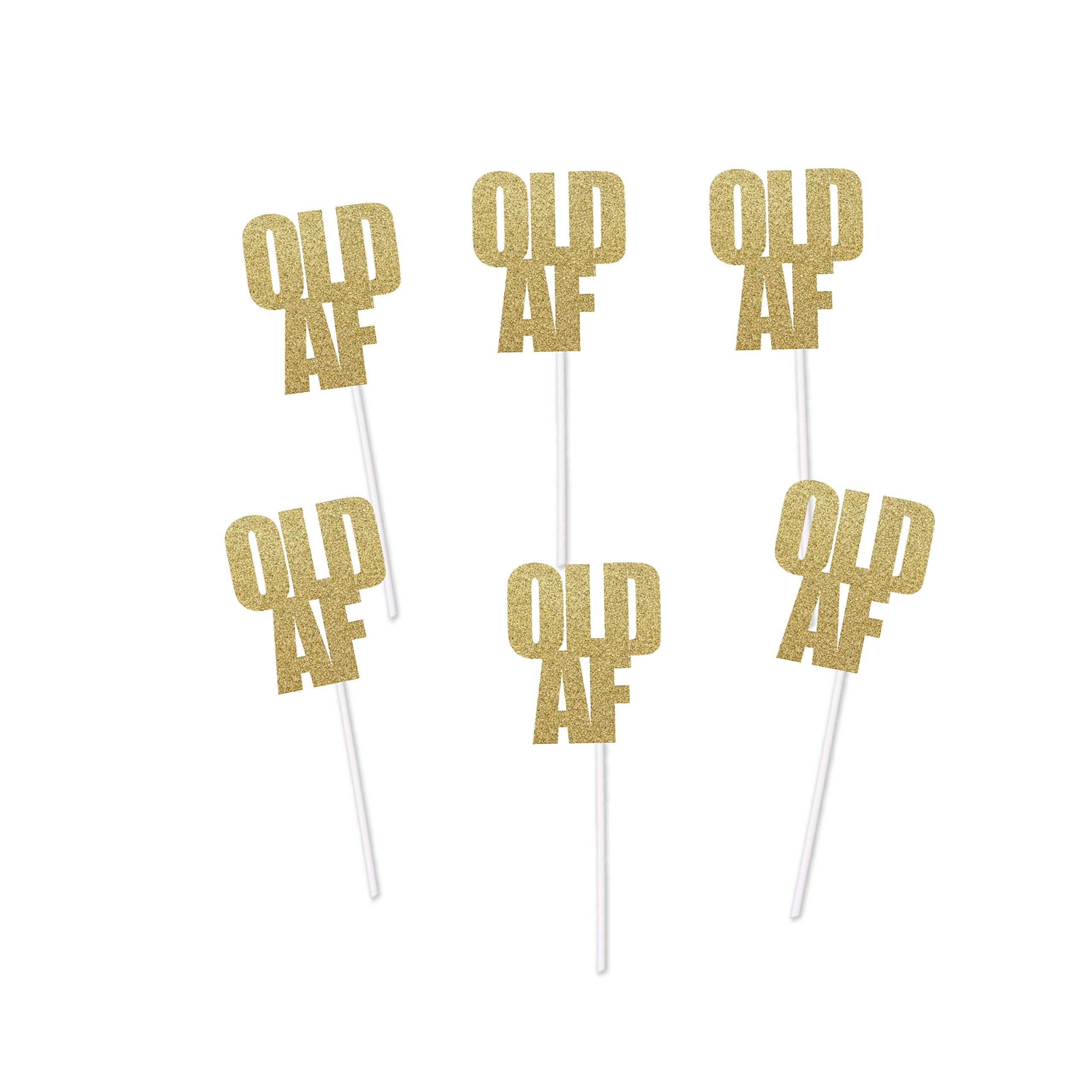 Old AF Cupcake Toppers for Birthday Party (Gold Glitter) - Over the Hill Dirty Thirty Decorations Cake by PinkFish Shop