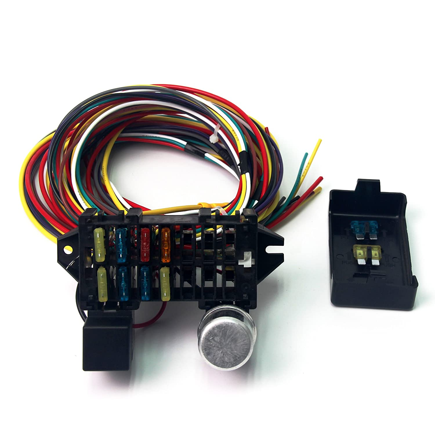 818OhNpuI4L._SL1500_ amazon com wisamic 10 circuit basic wiring harness fuse box street rod universal 14 fuse 12-14 circuit wire harness at bayanpartner.co