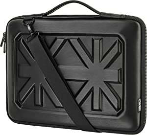 DOMISO 13.3 Inch Shockproof Waterproof Laptop Sleeve with Strap Protective Carrying Case for 13-13.3 Inch Laptops/MacBook Pro Retina/Dell Inspiron 13 XPS 13 / HP, Black