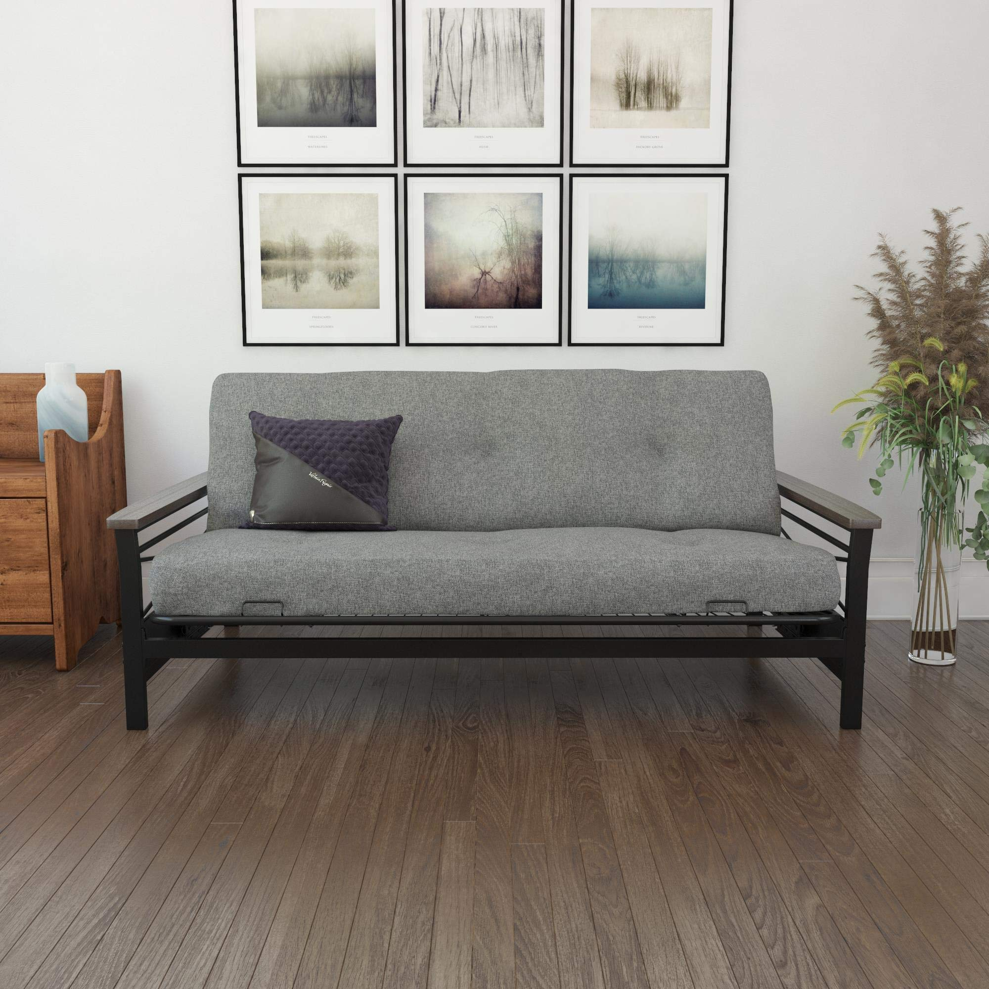 DHP Essence 6'' Coil Futon Mattress with CertiPUR-US Certified Foam, Full, Grey Linen by DHP