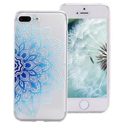 Funda Silicona iPhone 8 Plus, ZXK CO Azul Mandala Flores ...