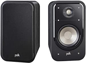 Polk Audio S20 Signature Series Bookshelf Speakers for Home Theater, Surround Sound and Premium Music, Power port technology, Detachable Magnetic Grille (Pair), Black
