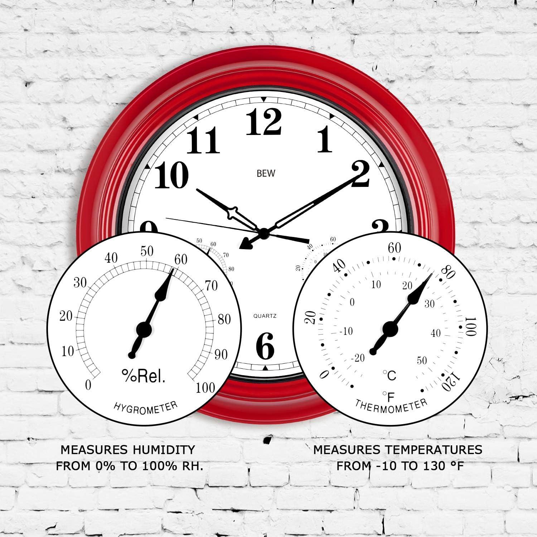 Metall, Empire Red 18-Zoll-Stille Wanduhr mit Thermometer und Hygrometer Combo moderne Dekoration f/ür Garten // Terrasse // Pool // Zuhause Gro/ße Outdoor-Uhr wetterbest/ändig wasserdicht