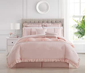 Chic Home Yvette 8 Piece Comforter Set Ruffled Pleated Flange Border Design Bedding - Bed Skirt Decorative Pillows Shams Included, Queen, Blush