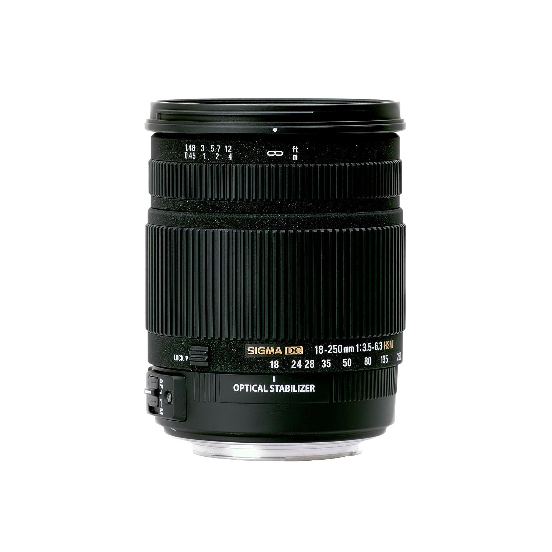 Color Negro Sigma 883306 Objetivo para Nikon Distancia Focal 18-250 mm, Apertura F3.5-6.3 DC Macro, Zoom /óptico 2.9X, estabilizador