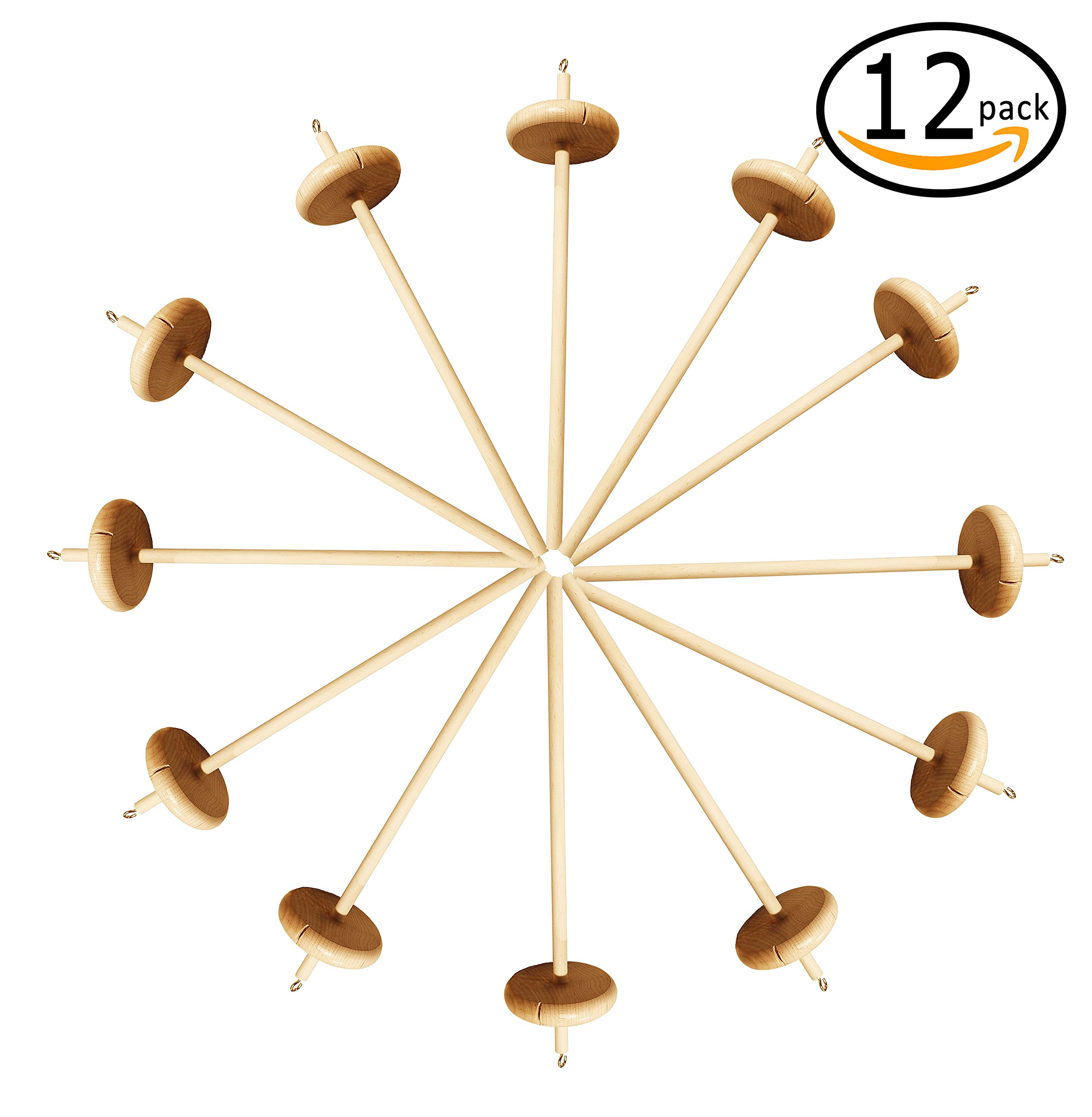 Happy Classy Drop Spindle Maple Spinning 12'' Top Whorl 12 Pack by Happy Classy