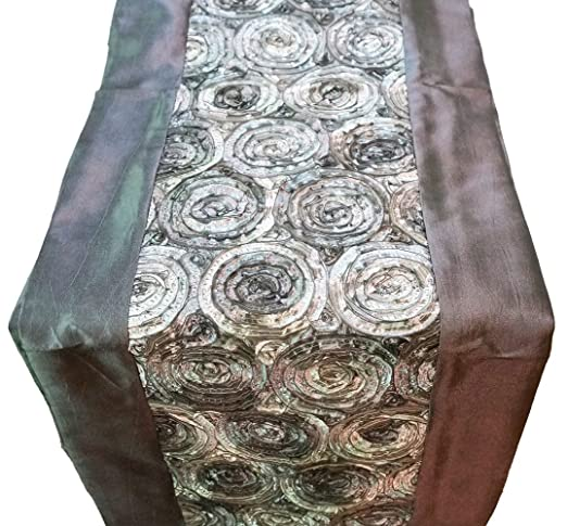 Christmas Tablescape Decor - Trendy Silver Gray Silk Rosettes Table Runner