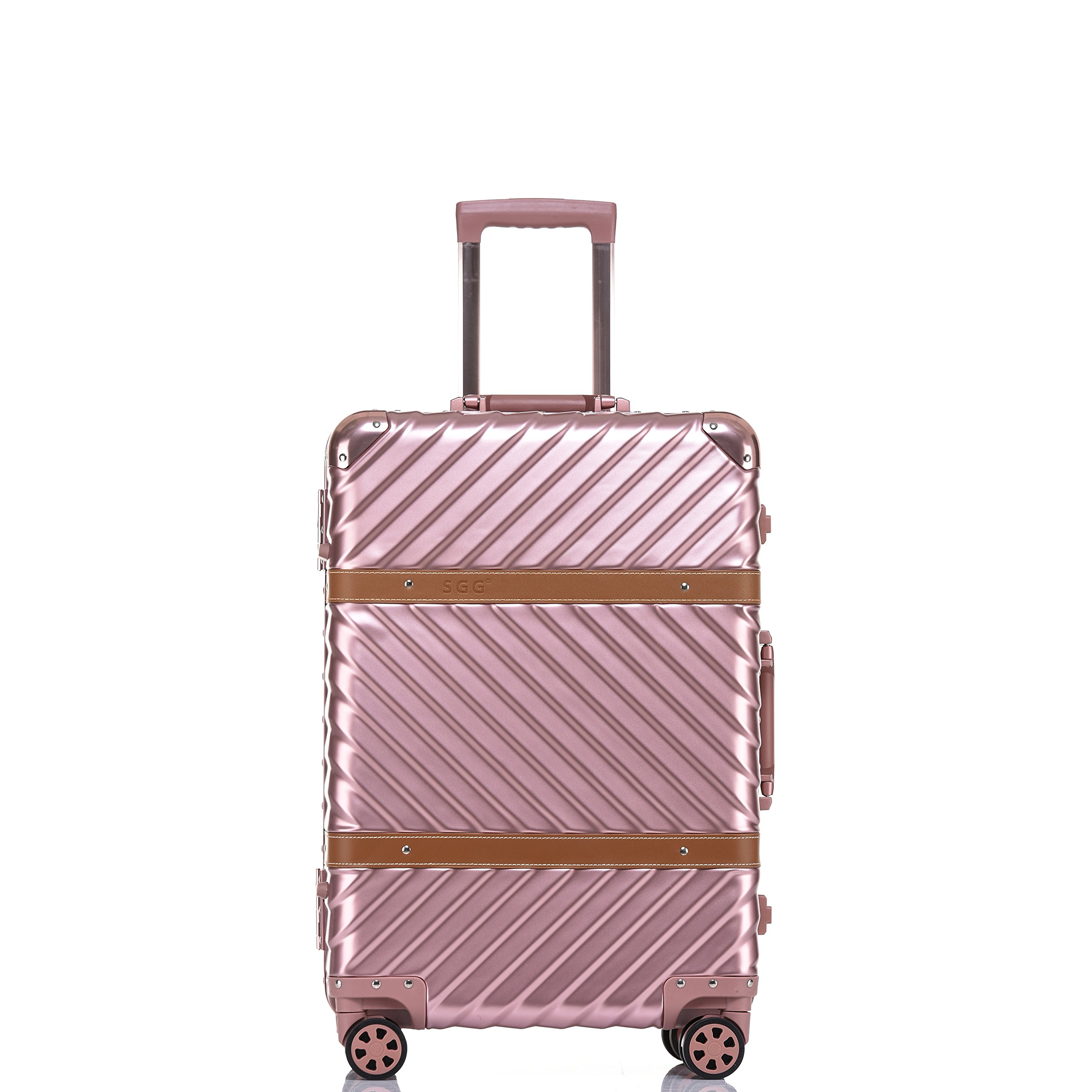 Travel Luggage, Aluminum Frame Hardside Suitcase with Detachable Spinner Wheels 20 Inch Rose Gold by Clothink