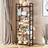 CosyStar 5-Tier Tall Bookcase, Rustic Wood and Metal Standing Bookshelf, Industrial Vintage Book Shelf Unit, Open Back Modern