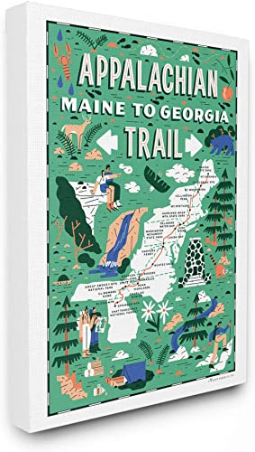 Stupell Industries Appalachian Trail Maine to Georgia Green Illustrated Scenic Map Poster Super Oversized Stretched Canvas Wall Art