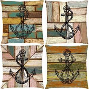 "AOKDEER Nautical Anchor Decorative Pillow Covers, Farmhouse Quotes Wooden Plank Board Outdoor Lumbar Couch Throw Pillow Covers 18"" x18"", Rustic Wood Anchors Family Pillow Cases for Sofa Bed Set of 4"