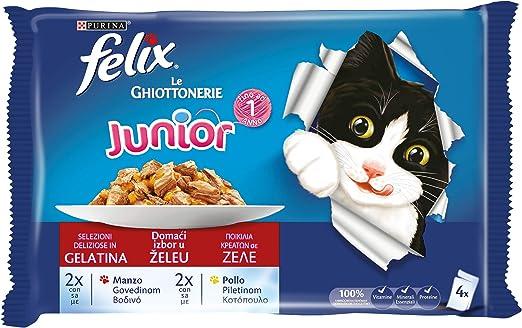 Felix Le Guottonerie Gato Junior con Ternera y Pollo, 4 x 100 g – Paquete de 10 Unidades
