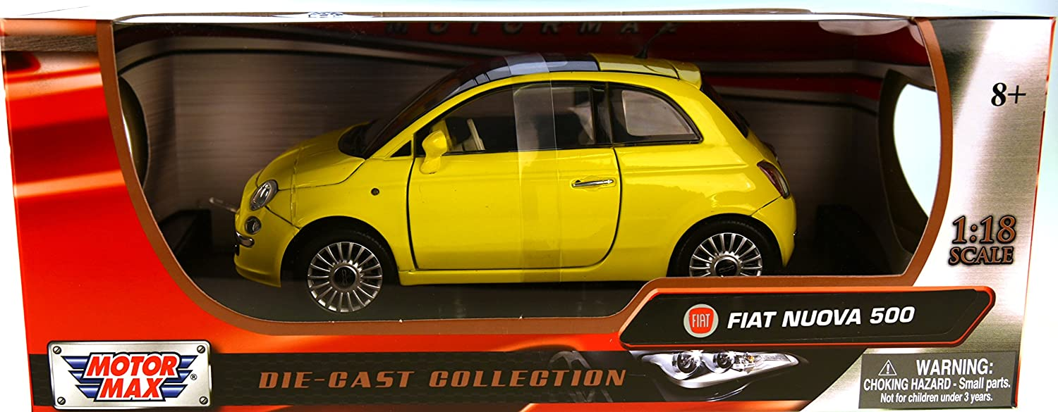 Fiat 500 Nuova Gelb Coupe 2007-2014 1//18 Motormax Modell Auto mit oder ohne in..