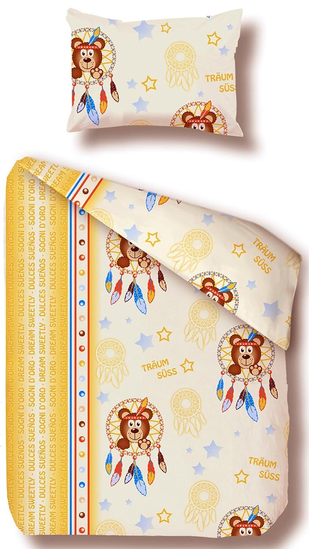 Beties Ours Parure de lit pour enfant env. 100x 135+ 40x 60cm Flanelle douce de qualité 100% coton multicolore de couleur (naturel)