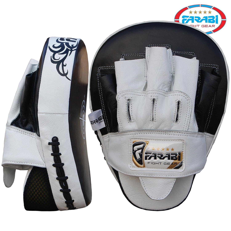 piel de vaca Almohadillas de mano para entrenamientos de boxeo Farabi Sports Curved Focus