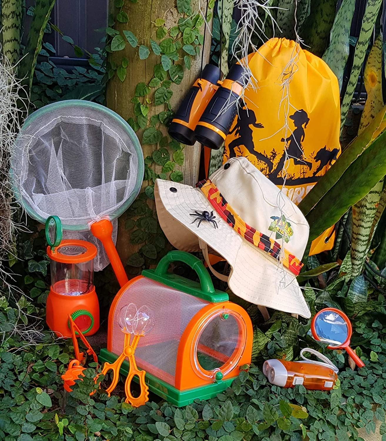 Adventure Kidz Outdoor Bug Exploration Kit, Binoculars, Magnifying Glass, Bug Container, Viewers, Critter Cage, Net, Backpack, Hat: Toys & Games
