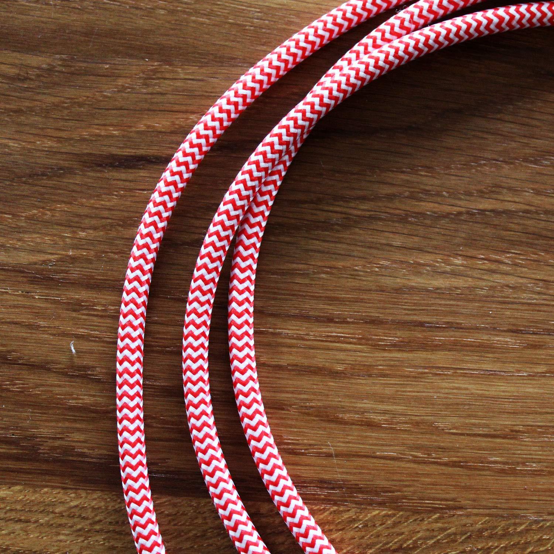 3 x 0,75 mm/² smartect Cable para l/ámparas de tela en color Gris - Cable de luz con revestimiento textil Cable textil trenzado de 1 Metro 3 hilos