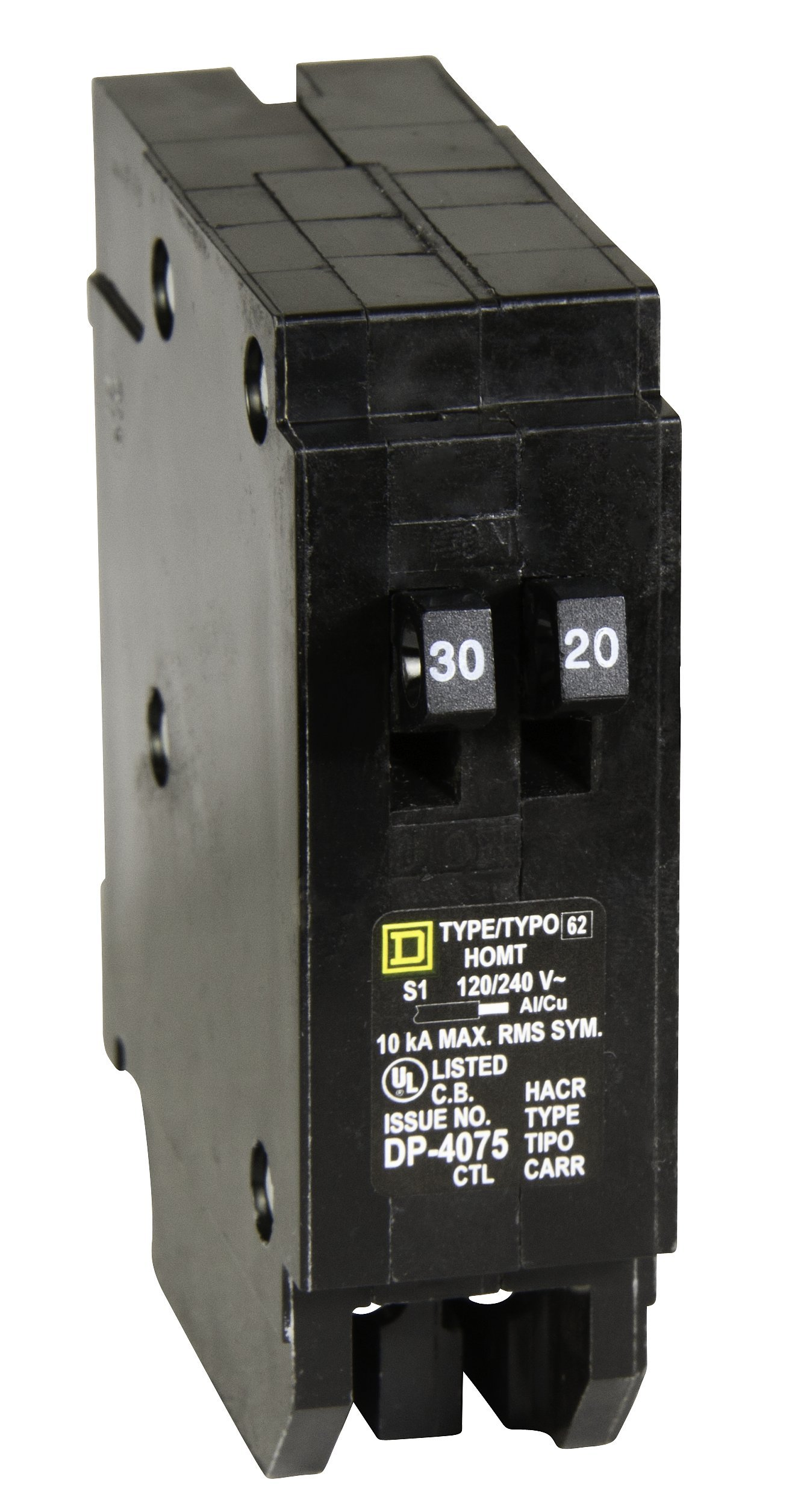 Square D by Schneider Electric HOMT3020 Homeline 1-30-Amp 1-20-Amp Single-Pole Tandem Circuit Breaker