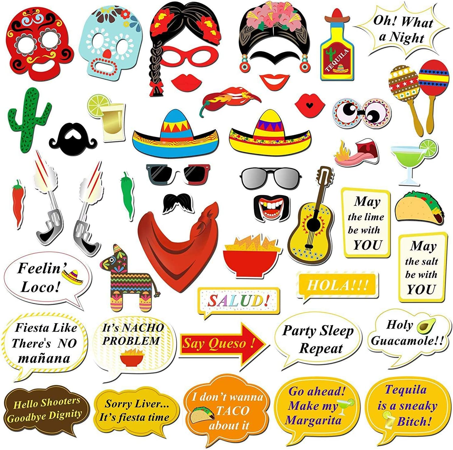 Kotbs 50 Pcs Mexican Fiesta Photo Booth Props Funny Photo Booth Selfie Props for Mexican Birthday Wedding Bachelorette Fiesta Themed Party Favors Supplies Decorations
