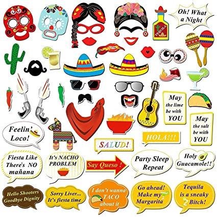 Kotbs 50 Pcs Mexican Fiesta Photo Booth Props Funny Selfie For Birthday