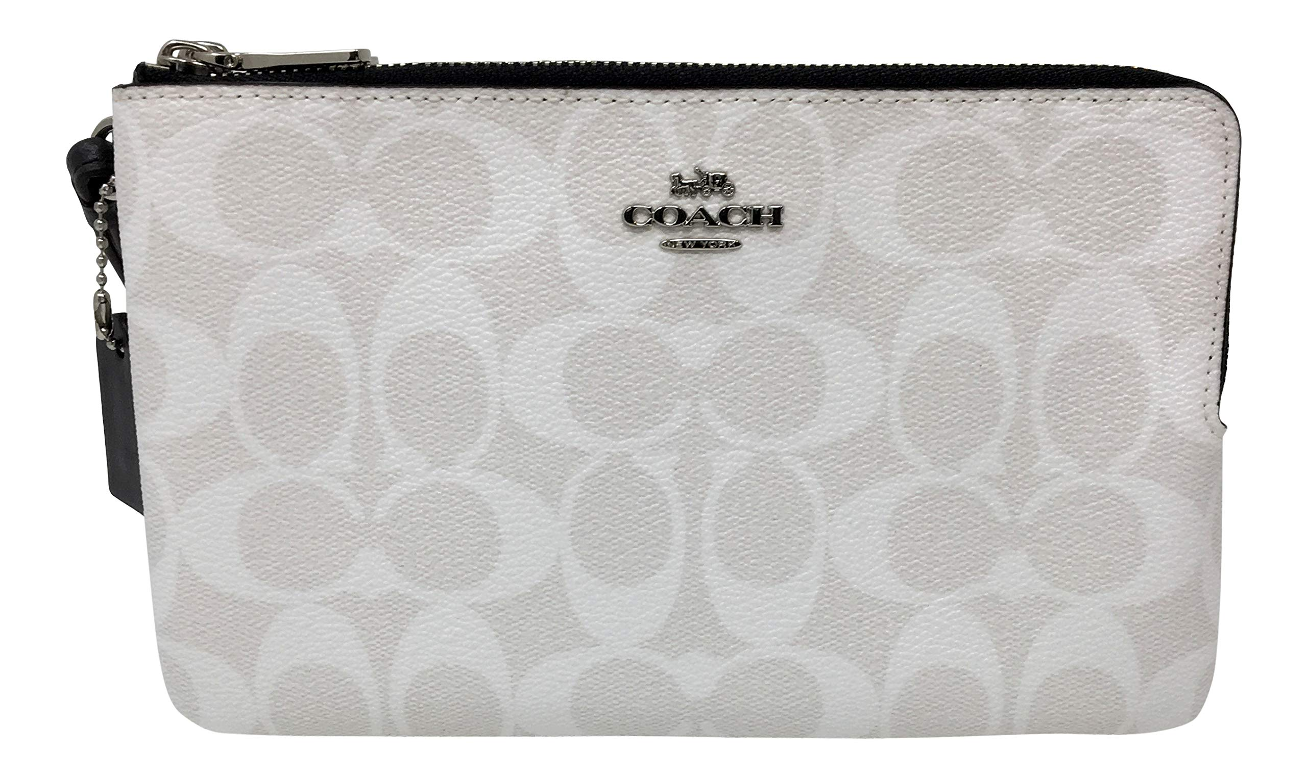 Coach Signature Large Double Zip Wristlet Bag Purse Chalk Midnight F16109