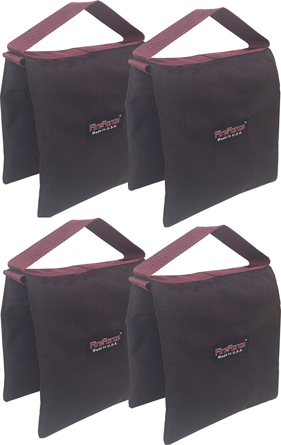 4 Each Fire Force Studio Tripod Stand Sandbags 20 lb Made in USA Color Black Empty