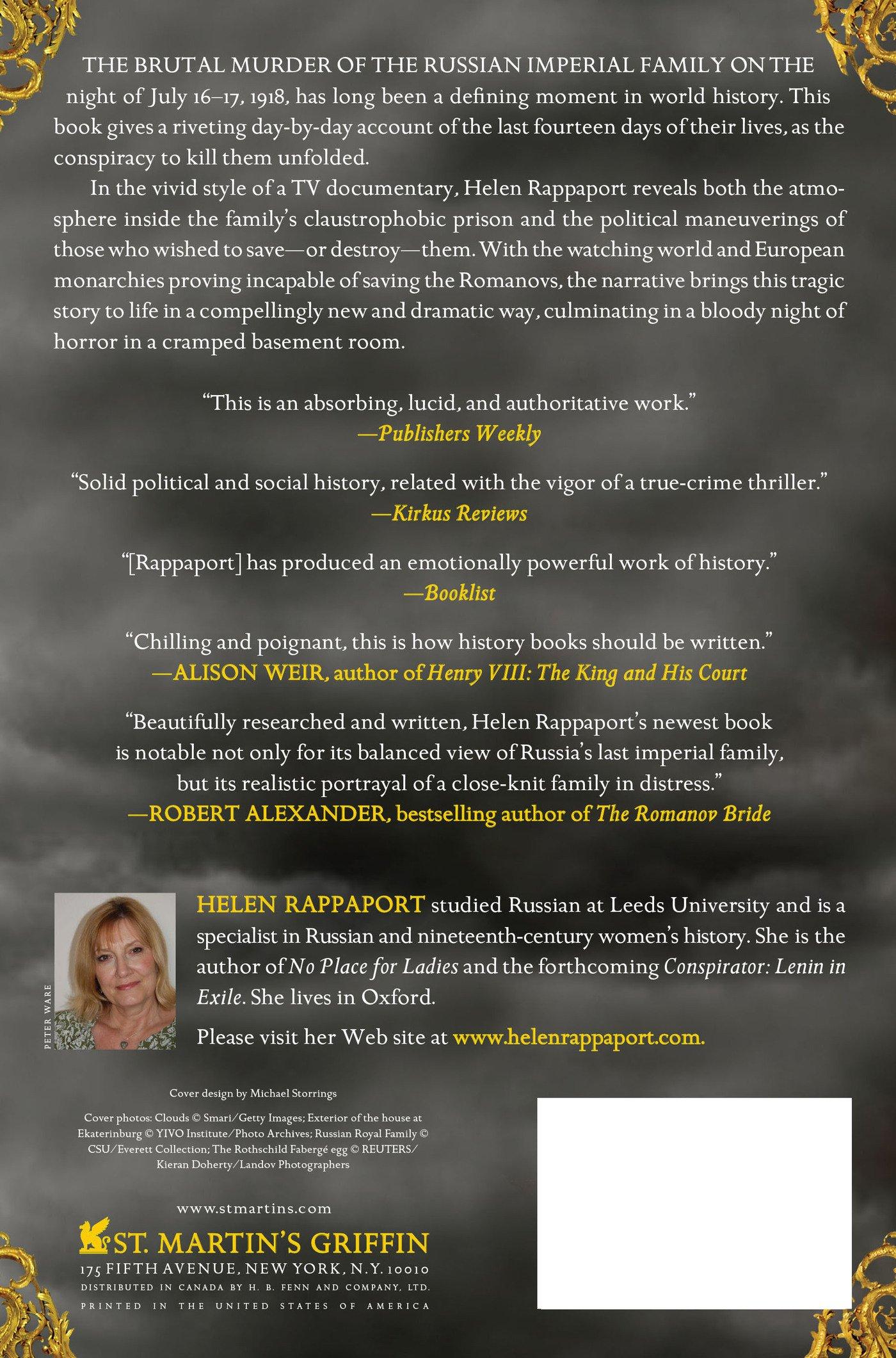 Amazon: The Last Days Of The Romanovs: Tragedy At Ekaterinburg  (9780312603472): Helen Rappaport: Books
