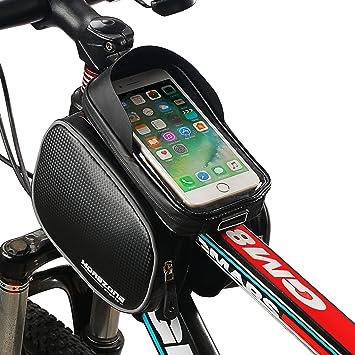 4edf62cab8 MOREZONE Sacoche de cadre vélo pour Smartphone Guidon vtt Sacoche  résistante à l'eau Téléphone