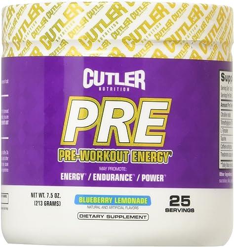 Cutler Nutrition Pre-Workout Energy Powder, Blueberry Lemonade, 7.5 Ounce
