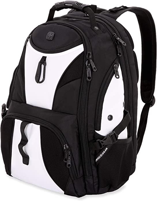 SWISSGEAR 1900 ScanSmart Laptop Backpack | Fits Most 17 Inch Laptops and Tablets | TSA Friendly Backpack | Ideal for Work, Travel, School, College, and Commuting- White/Black