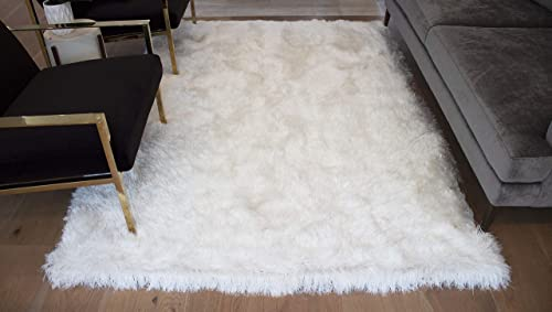 8×10 Feet Snow White Pure White Colors Area Rug Carpet Rug Solid Soft Plush Pile Shag Shaggy Fuzzy Furry Modern Contemporary Decorative Designer Bedroom Living Room Hand Woven Non Slip Canvas Backing
