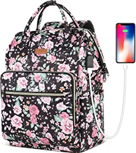 Travel Laptop Backpack for Women 15.6-Inch Stylish School Backpack with USB Charging Port RFID Anti Theft Water Resistant Casual Daypack Backpacks Purse for Business Travel Gifts,Flower