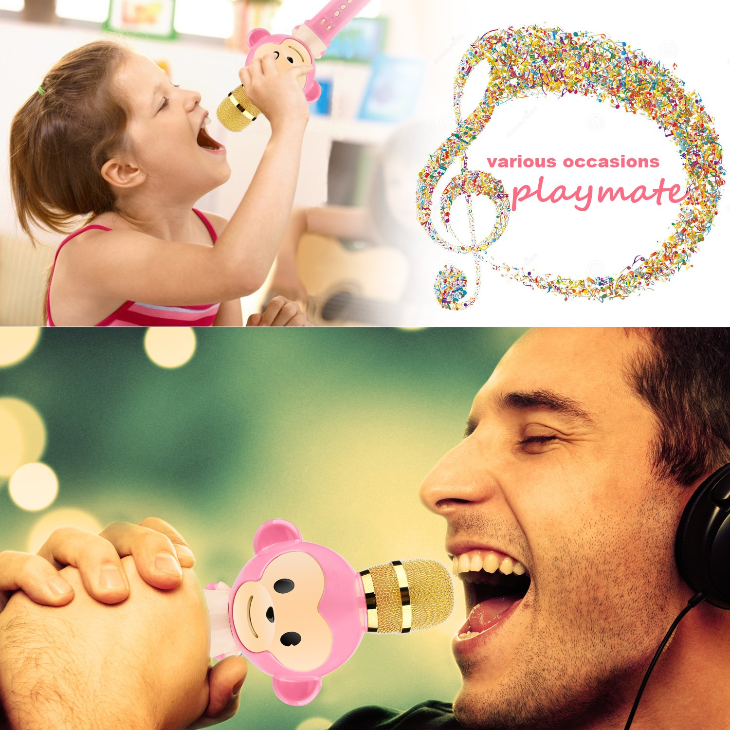 Microphone for Kids Children Karaoke Microphone Bluetooth Wireless Microphone Portable Handheld Karaoke Machine Toys Gifts Singing Recording Home KTV Party iPhone Android PC Smartphone (Pink) by Seelin (Image #6)