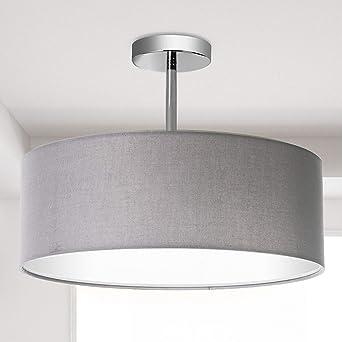 Luz de techo, pantalla colgante de tela moderna, pantalla grande de tambor gris, lámpara colgante redonda, para sala de estar de dormitorio, cromo mate mate, 3 bombillas, E27: Amazon.es: Iluminación